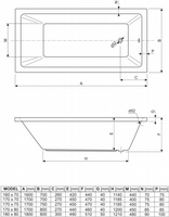 Aquaestil Plane Solo Bath 1800 x 800mm